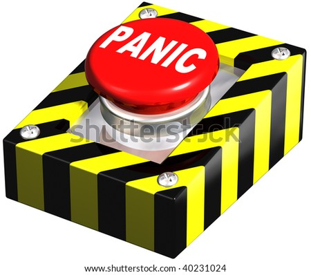 Isolated illustration of an emergency panic button - stock photo