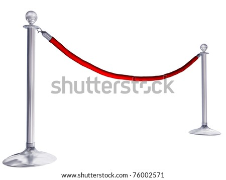 Isolated illustration of velvet rope and stands - stock photo