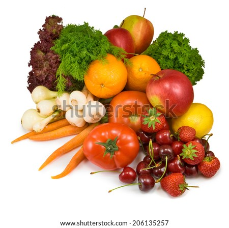 Isolated image many vegetables and fruits - stock photo