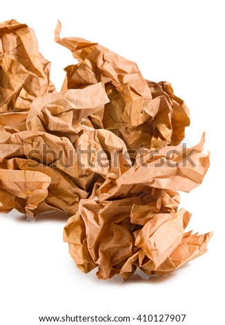 Isolated image of a crumpled paper close up  - stock photo