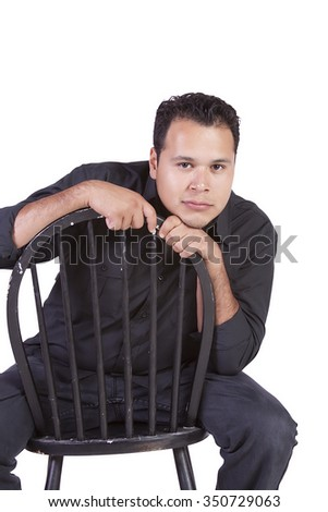 Isolated image of a handsome hispanic man - stock photo