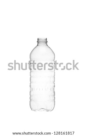 Isolated image of an empty water bottle over a white background - stock photo