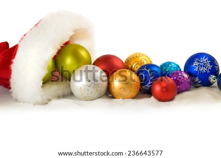 Isolated image of Christmas decorations closeup - stock photo