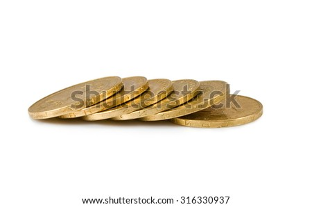 Isolated image of coins on a white background  - stock photo