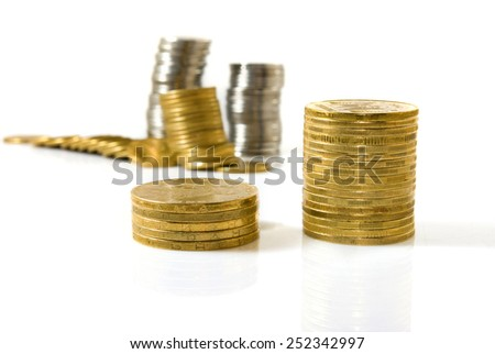 Isolated image of coins on white background - stock photo