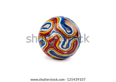 Isolated image of colorful toy marble over a white background - stock photo