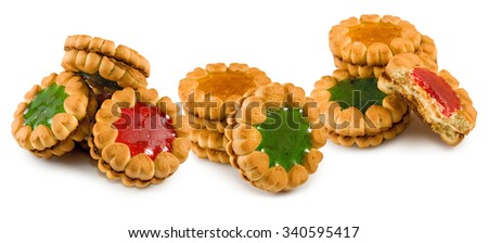 Isolated image of delicious cookies close-up - stock photo