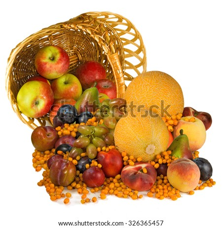 Isolated image of different fruits on a white background - stock photo