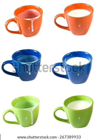 Isolated image of empty cups and cups of milk - stock photo