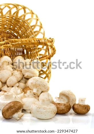 Isolated image of inverted baskets vith��� mushrooms on a white background - stock photo