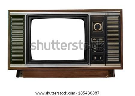 Isolated image of old television on white background - stock photo