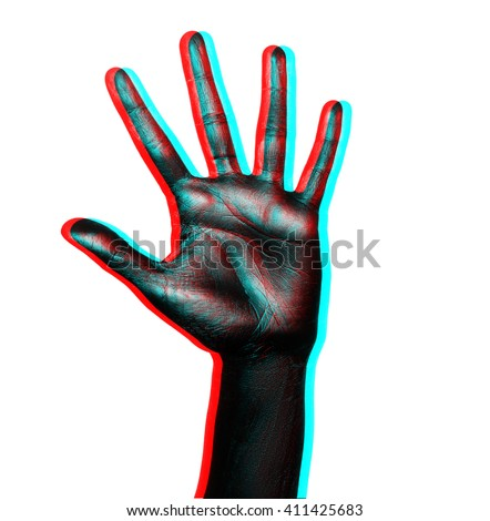 Isolated image of palm with fingers spread painted in shiny black paint on a white background in three-dimensional space - stock photo