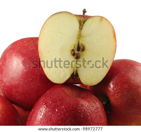 Isolated image of red, ripe apple on a white background - stock photo