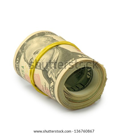 Isolated image of rolls of dollars on  white background - stock photo