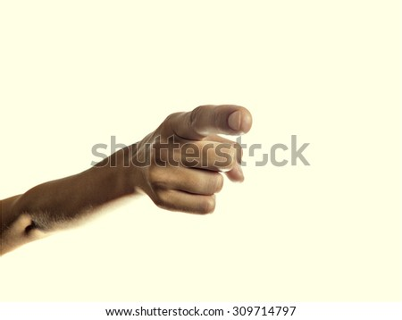 Isolated image of the forefinger pointing at you, hand you a directional finger - stock photo