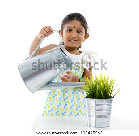 isolated indian kid farming - stock photo