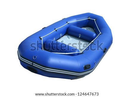 isolated inflatable boat on white background with path - stock photo