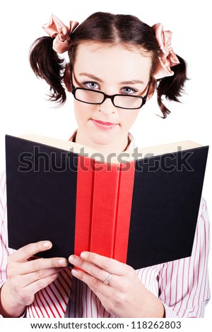 Isolated Intellectual Female Nerd Studying School Textbook On White Studio Background - stock photo