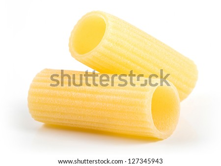 isolated italian pasta Rigatoni on white background - stock photo