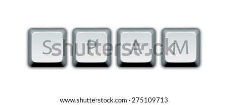 Isolated keyboard keys with the word spam. - stock photo