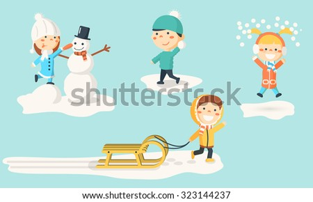 Isolated kids illustrations in winter. Children making snowman, playing with snow and sledding. - stock photo