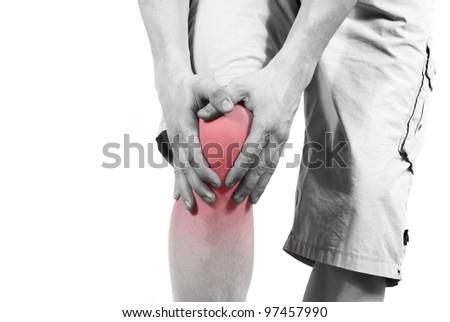 isolated knee pain - stock photo