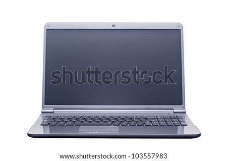 isolated laptop computer with 2 clipping path (laptop outline and screen) in jpg. - stock photo