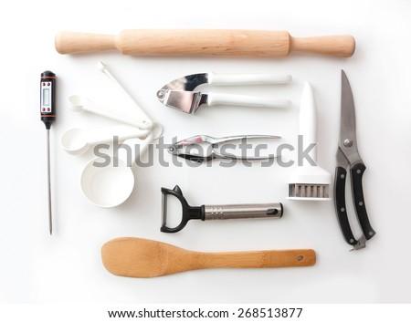 isolated lay kitchenware still life - stock photo