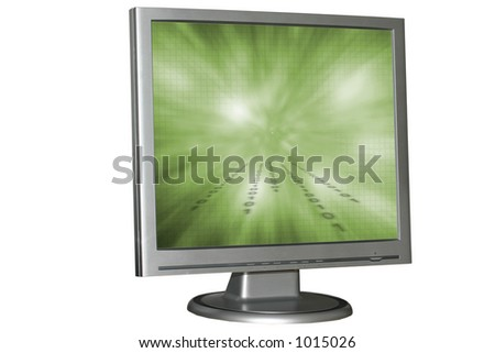 Isolated LCD monitor - stock photo