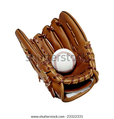 Isolated leather baseball mitt and ball - stock photo