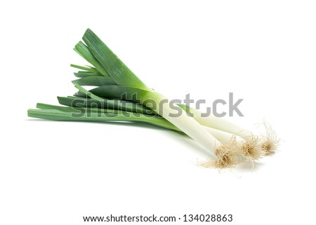 Isolated leek or field garlic on white background. - stock photo