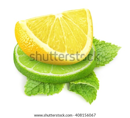 Isolated lemon and lime. Two pieces of lime and lemon fruits with mont leaf isolated on white background with clipping path - stock photo