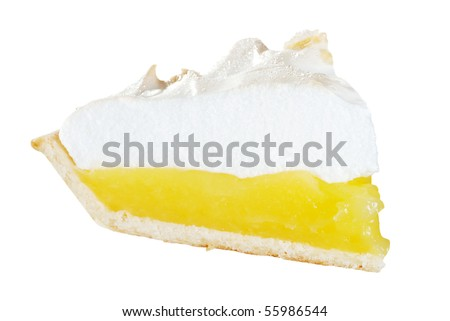isolated lemon meringue pie slice - stock photo
