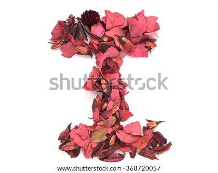 Isolated letter I - capital alphabet made from dry red flower petals - stock photo
