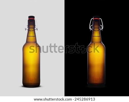 Isolated Liter Beer Bottle - stock photo
