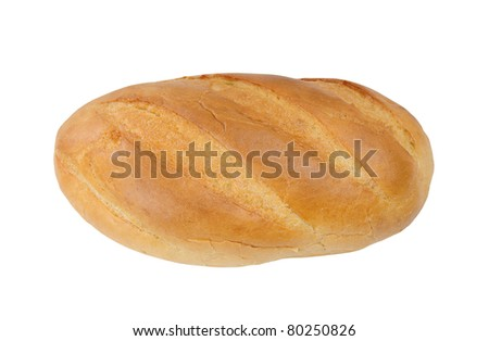 isolated loaf of white tasty fresh bread - stock photo