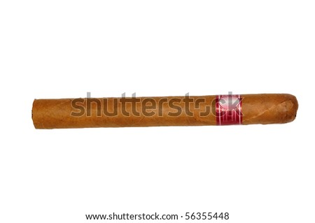 isolated long elegant brown cigar - stock photo