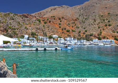 "Isolated ""Loutro"" village at Crete island in Greece. Area of ""Chora Sfakion"" - stock photo"