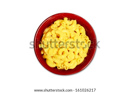 isolated macaroni and cheese in red bowl  - stock photo
