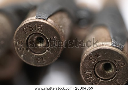 Isolated macro shots of 7.92 mm caliber to MG42 machinegun - stock photo