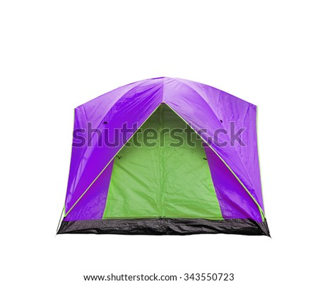Isolated magenta and green dome tent with clipping path - stock photo