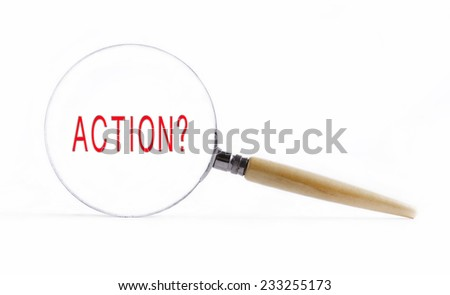"Isolated Magnifying glass on white background searching missing puzzle peace ""action"" - stock photo"