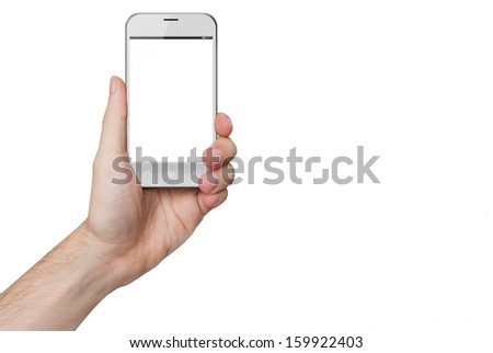 isolated male hand holding a white phone similar to iphone with isolated screen - stock photo
