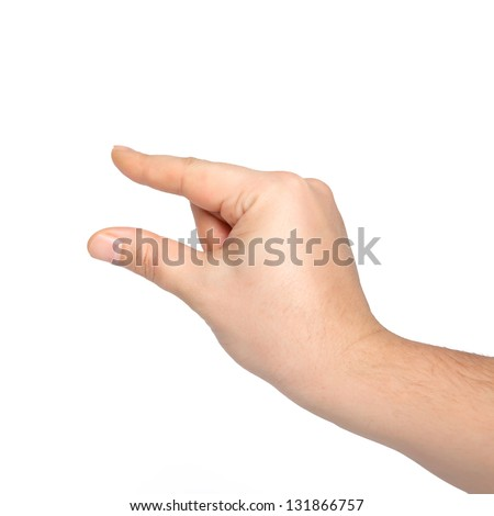 isolated male hand holding an object or pinch to zoom - stock photo