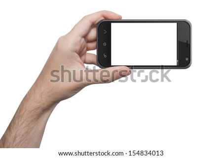 isolated male hand holding the phone similar to iphone with isolated screen - stock photo