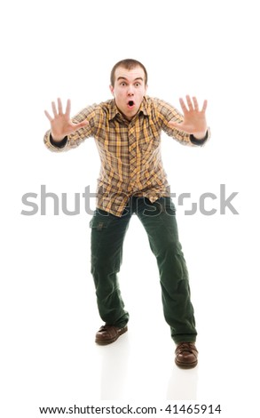 Isolated man gesturing stop sign - stock photo
