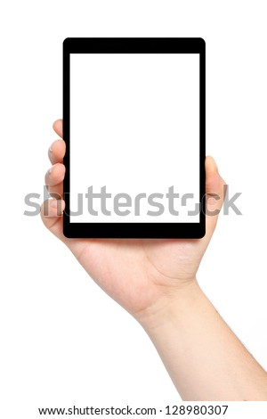 isolated man hand holding a tablet computer with isolated screen - stock photo