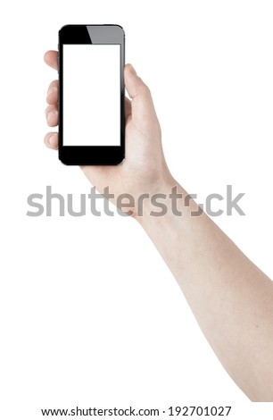 isolated man hand holding the smart phone tablet touch computer gadget.  - stock photo