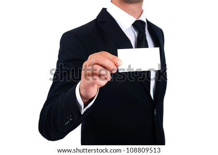 Isolated Man in suit showing business card - stock photo