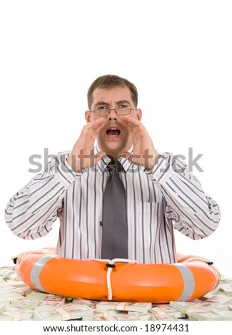 Isolated man surrounded by bills of dollars screaming for help - stock photo